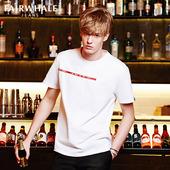 韩版 半袖 T恤男2018夏季新品 马克华菲短袖 字母印花纯棉圆领半袖图片