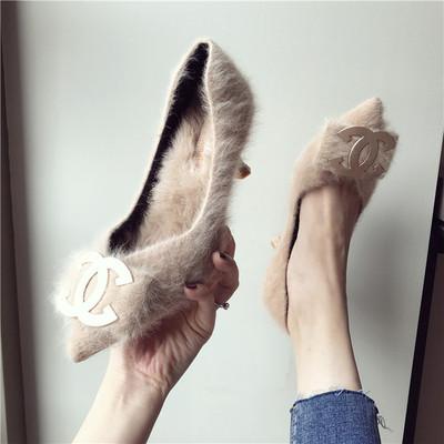 细跟尖头毛毛鞋女2018秋冬季大牌保暖兔毛垫显瘦中高跟鞋浅口单鞋
