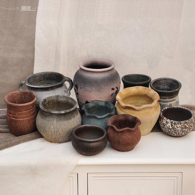 痕迹粗陶多肉植物花盆陶瓷花瓶黑法师老桩大号花器透气双耳陶罐