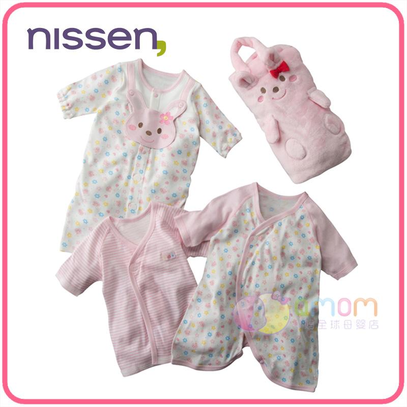 现货日本nissen童装2019卡通兔子婴儿秋冬套装 新生儿连体衣新款