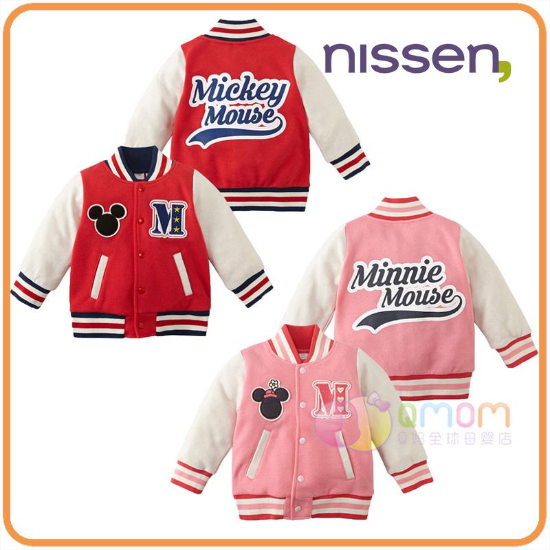 现货日本nissen童装2018迪士尼米奇米妮儿童棒球服长袖外套新款潮