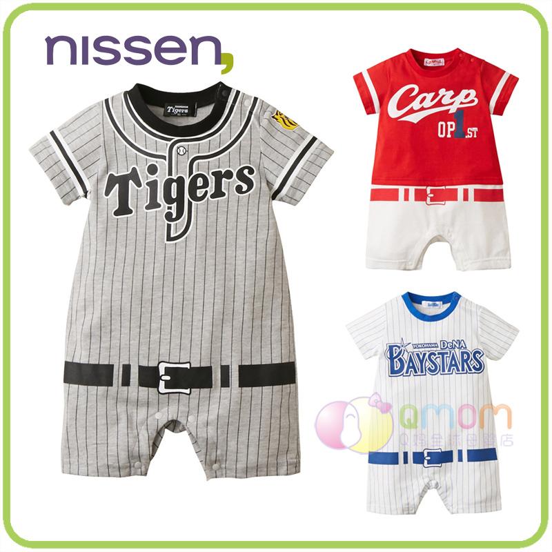 现货日本nissen童装2019棒球服婴儿短袖连体衣夏季外出男宝宝哈衣
