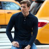 七匹狼长袖t恤 中青年男士翻领时尚商务纯棉t恤纯色POLO衫新款潮