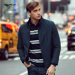 七匹狼夹克中青年男士时尚商务休闲立领茄克jacket外套男装衣服