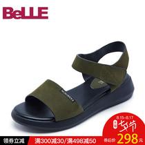 BOJ37BT7百丽夏季专柜同款人造革中跟凉拖Belle