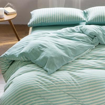 天竺棉四件套 纯棉简约条纹床单被套针织棉全棉床笠床上用品