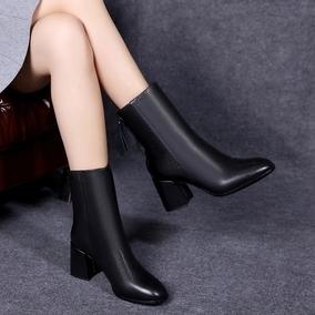 真皮高跟短靴2018秋冬新款欧洲站方头粗跟女靴加绒女鞋中筒马丁靴