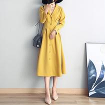 2018秋季新款秋装V领长袖中长裙收腰复古时尚大码气质风衣连衣裙
