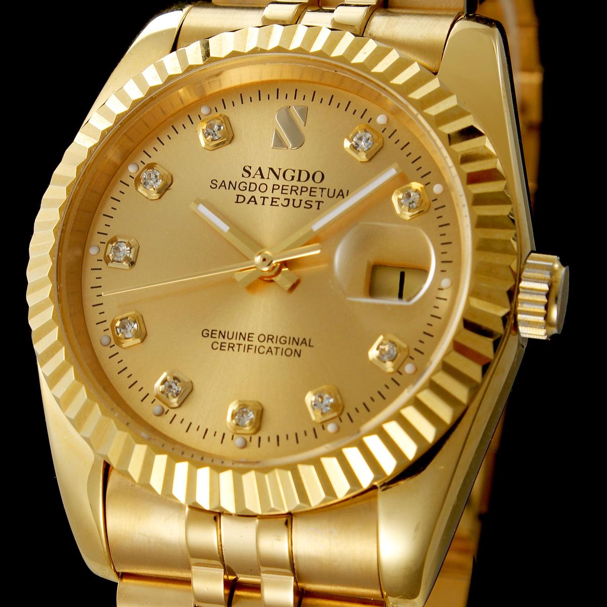 特价情侣 正品香港桑德手表 18K金表 镶钻日历全自动机械男表