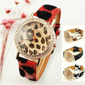 欧美潮流豹纹女手表 皮带正品时尚镶水钻女士腕表韩版复古学生表