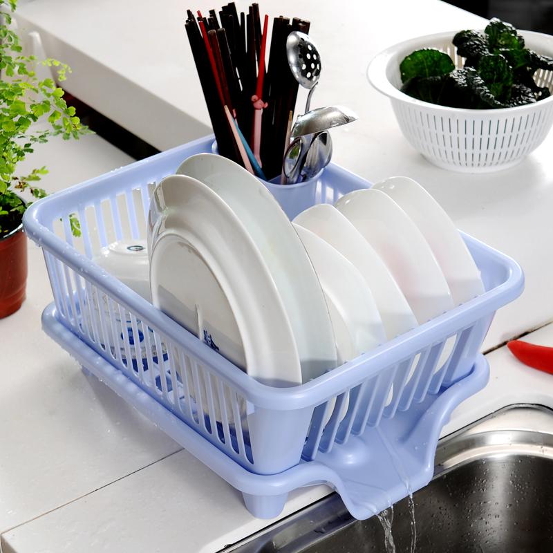 日本原装进口碗盘沥水置物架 餐具笼 塑料碗架导水架 碗碟收纳篮