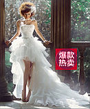 Puffy wedding dress short short long wedding dress fresh cute detachable trailing Korean version of the small trailing sexy