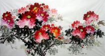 六尺花开富贵手绘国画牡丹客厅装饰画书画水墨画字画洛阳牡丹画