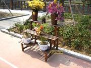 仿古炭化三层阶梯花架 置物架 书架 实木落地式多层花盆架花架子