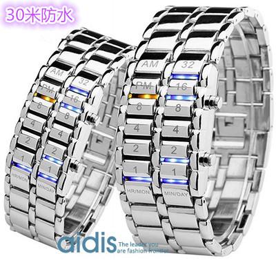 正品30米防水男士电子led二代熔岩手链条表钢铁苍穹韩版复古手表