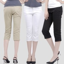 Middle and old age high waist seven cent pants female summer cotton pants, middle-aged mother wear casual pants, big code women's wear 7 pants
