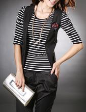中袖 纯棉 条纹 女款 新款 2014秋装 T恤打底衫 女装 条纹修身 韩版 新品