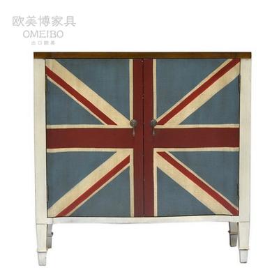 美式出口家具 双门米字旗鞋柜 新款地中海风格 做旧手绘装饰玄关