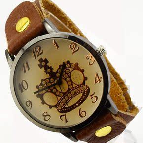 韩国潮流时尚 牛皮复古手表 女 简约款皇冠罗马刻度小清新手表