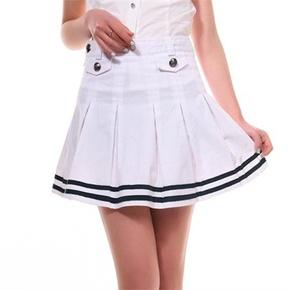 小熊海军风短裙百褶裙学院风女装 半身裙 少女学生裙校服短裙裙子