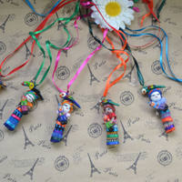 Guatemala worry-free doll parent-child necklace, baby weaving witch fabric necklace bohemian dumb jewelry