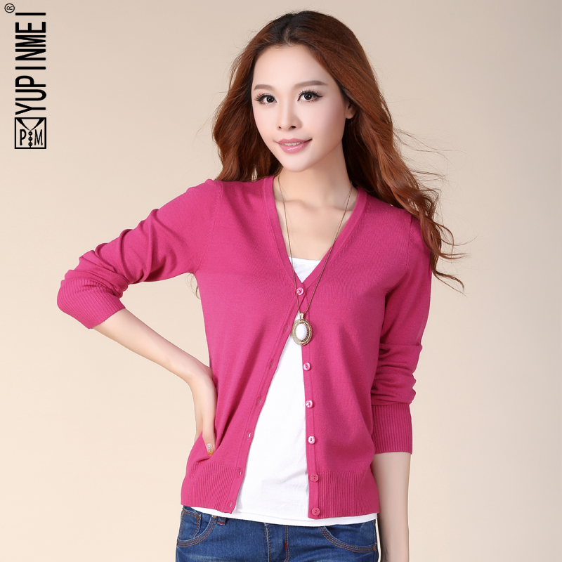 2014春装新款 韩版女装V领开衫针织衫女 大码修身长袖毛衣小外套
