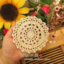 Fresh water lotus hand Crochet hook Flower cup pad cotton hollowed woven diy flower garden table round pad 10cm