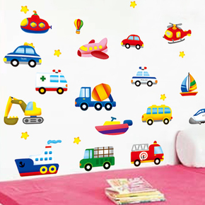 幼儿园教室儿童房男孩卧室背景装饰小汽车墙壁贴画卡通墙贴纸车车