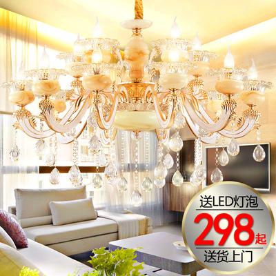 锌合金玉石水晶吊灯客厅餐厅卧室欧式奢华别墅LED复式楼简欧灯具