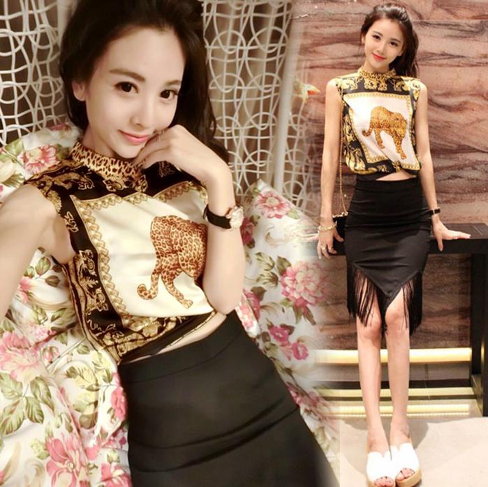 2017夏装新款女装时尚潮气质韩版包裙套装性感时髦两件套裙子夏季