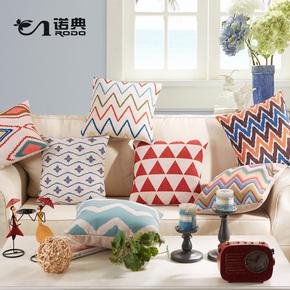 诺典 欧美几何棉麻抱枕 北欧沙发床上办公室靠垫套腰枕 美式靠枕