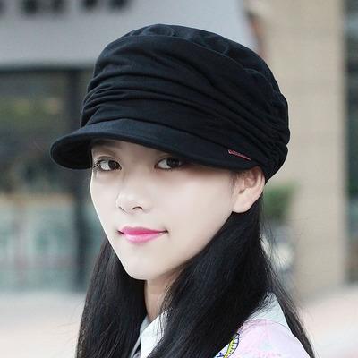 帽子女韩版软沿鸭舌帽秋天褶皱平顶帽大码时装帽百搭显脸小帽布帽