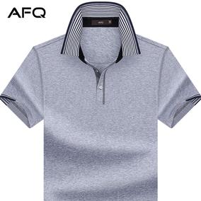 AFQ男装商务中年丝光棉翻领短袖t恤 加大加肥宽松纯色半袖POLO衫