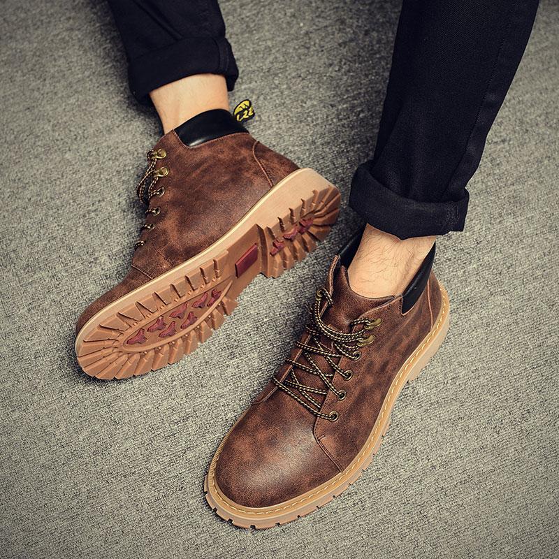 皮靴男英伦加绒保暖短靴