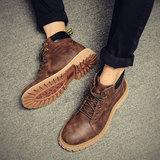 男鞋冬季马丁靴男潮中帮英伦皮靴雪地短靴工装靴子男加绒保暖棉靴