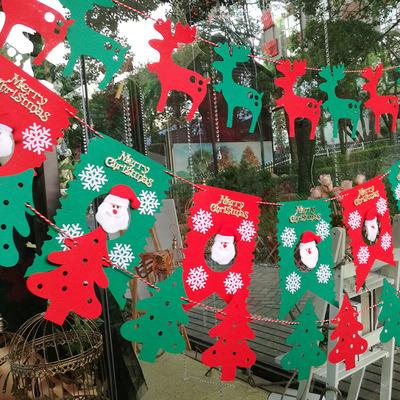 2018圣诞橱窗装饰 吊饰拉花挂件 商场圣诞树小鹿圣诞老人装饰品