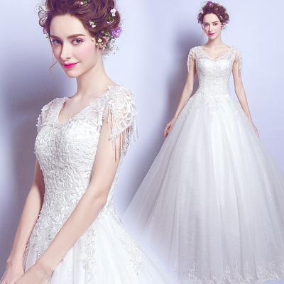 预售10天发货蕾丝钉珠一字肩性感深v领公主新娘修身齐地婚纱礼服