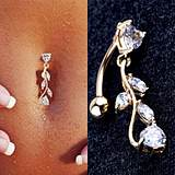 Trendy White Rhinestone Copper Leaves Belly Button Rings Bod