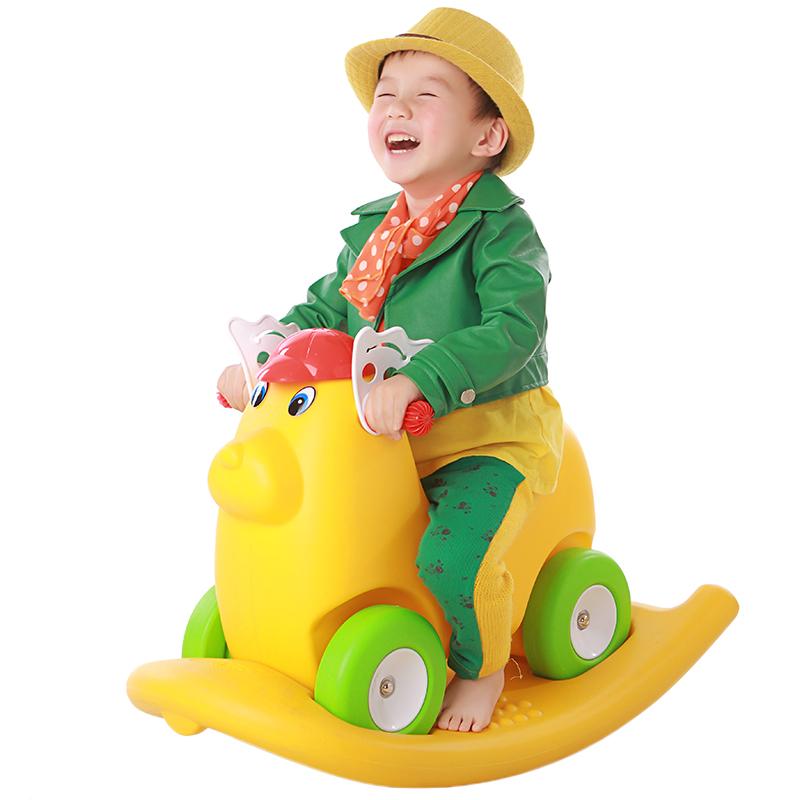 儿童塑料玩具两用摇马木马摇摇乐溜溜滑滑车宝宝四轮学步咪咪狗