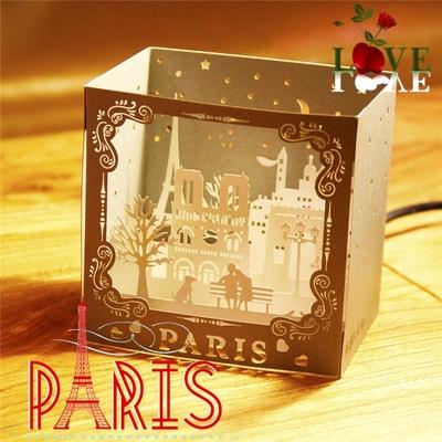 3d创意立体纸雕贺卡情侣浪漫结婚纽约巴黎城市风景小卡片商务定制