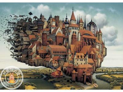 正品现货 Schmidt德国进口成人拼图1000片玩具 飞行的城堡 陈意涵