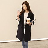 2019 Korean version of black loose suit coat women's long loose slim coat versatile long suit women