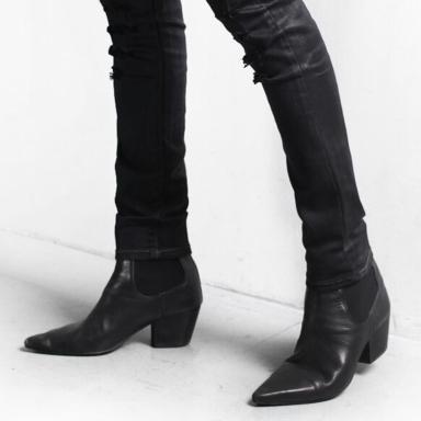 韩版真皮高跟尖头靴男靴子套脚潮流短靴男士高帮靴皮鞋增高鞋皮靴