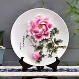 National color Tianxiang Luoyang peony flower porcelain ceramics crafts decoration plate hanging plate sitting plate decoration creative Chinese