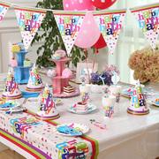 生日主题套餐 杯盘帽吹龙纸巾吸管叉子七样六件套生日装饰用品