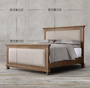 特价美式乡村实木双人床 适用法式高档橡木复古做旧软包沙发床