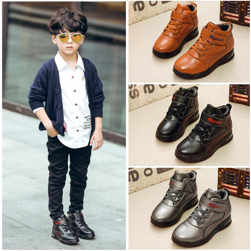 童鞋冬季中大童棉鞋2017新款加绒保暖棉靴气垫儿童短靴男童雪地靴