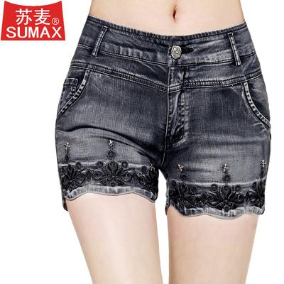 刺绣花牛仔短裤