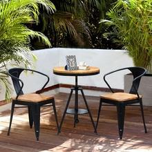 阳台户外桌椅三件套复古实木休闲桌椅组合做旧酒吧咖啡厅餐桌椅子