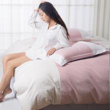 全棉四件套简约条纹格子纯棉床单被套床品三件套1.8m床上用品床笠